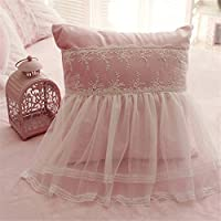 Abreezeキュートガールズコットン寝具セットロマンチックホワイトフリル付き羽毛布団カバーセット4点 Throw Pillows
