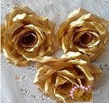 華やか な バラ 造花 花びら 花のみ 10cm 30コ 手作り パーティー お祝い 結婚式 二次会 イベント 装飾 等 に シルバー 銀 ゴールド 金 星型夜光ステッカー セット (金・ゴールド)