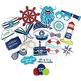 航海写真ブース小道具 ベビーシャワーまたは誕生日パーティー装飾 Ahoy Boy 21個