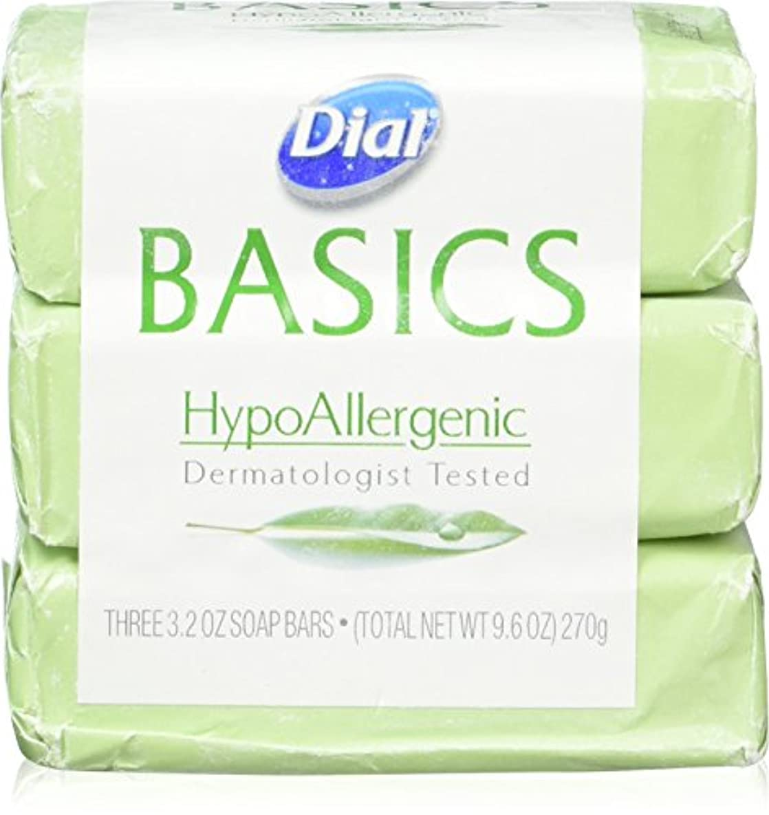 Dial Basics HypoAllergenic Dermatologist Tested Bar Soap, 3.2 oz (12 Bars) by Basics