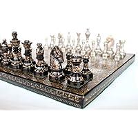 ストーンクラフトハンドメイドプレミアムブラス31 x 31 cmチェスセット - メタリックシルバーとブラックカラーセット、光沢のある豪華なチェスピース