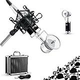コンデンサーマイク、Coolife 高音質レコーディング スタジオマイク 放送マイクロホン 単一指向性 高感度 高出力 ネットの生放送/録音/スタジオ/ラジオ放送/カラオケ/専門録音制作 マイクマウント付き 3.05Mの超長いケーブル アルミ合金収納箱付き