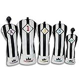 CRAFTSMAN(クラフトマン)ユベントスファン向け イタリア風 ゴルフヘッドカバー レザー製 たて縞黒白 バージョンアップ (たて縞黒白 セット)