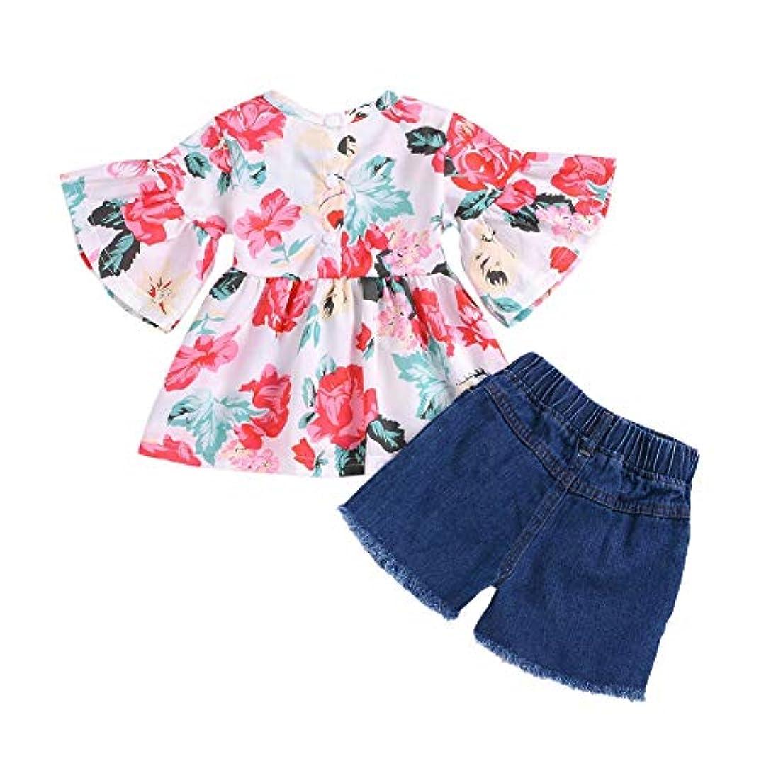 アトミック相関するプラスRad子供 夏の子供女の赤ちゃんカジュアルフレアスリーブトップス花柄Tシャツ+デニムショートパンツスーツコスチュームセット