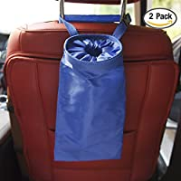 カー・リア・ゴミ・バッグ・ヘッドヘッド・ピロー・ゴミ箱2パッククリーン・エコ・シート・リア・ハンギング・カー・ゴミ・バッグ・カー・ゴミ・バッグ・旅行・アウトドア,Blue,2Pack