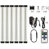 調光可能なLEDキャビネット照明キット6条セット,18 W 電球色 3000Kカウンター下敷きキッチン用本棚ライト、階段 、廊下、寝室にも最適間接照明ストールするのは簡単