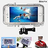 MOUTIK iPhone6 Plus 6S Plus用 完全 防水ケース Goproマウント対応/広角170 魚眼レンズ付き gopro用のヘッドマウント/バイクマウント/自撮り棒/フローティング対応 防塵 耐衝撃 防滴 防振 防水IPX68