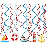 吊り下げ渦巻き飾り ボート渦巻きバナー 船ガーランド 海 ベビーシャワー 100日 半歳 1歳 誕生日お祝いパーティー飾り付け イベント 部屋壁掛け飾り 30枚セット