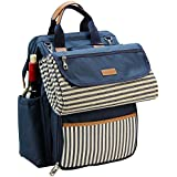 "INNO STAGE Wide Open Large Capacity Picnic Backpack for 4 with Insulated Cooler Compartment 9"" Plates Wooden Handle Cutlery and Waterproof Blanket Navy Blue"