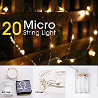 (Warm White) - LIDORE Micro LED 20 Warm White Lights with Timer, Battery Operated on 2.4m Long Silver Colour Ultra Thin Copper Wire