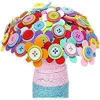 幼児期のゲーム 創造的な教育おもちゃかわいい子供の手作りDIYボタンブーケ材料パッケージ(5つの葉の花)