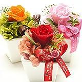 薔薇のミニプリザーブドフラワーとスイーツセット (オレンジ)