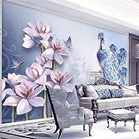 Ansyny 壁画3Dエンボスモクレンテレビ背景壁カスタム壁紙-280X180CM