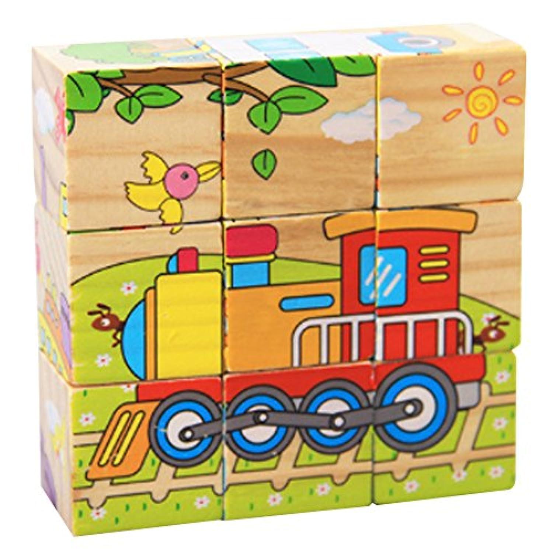Demiawaking かわいい幼児 子供 教育教材 木のおもちゃ 知育/啓蒙教育おもちゃ  電車積み木?6模様できる