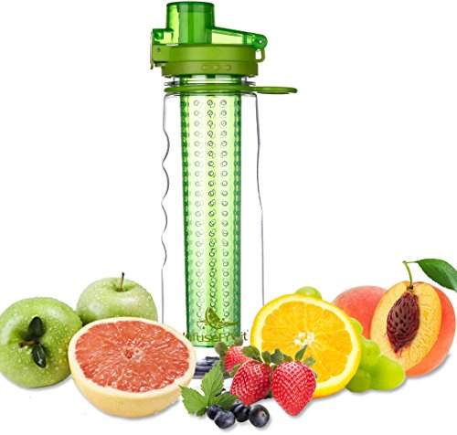 デトックス フルーツ フレーバーウォーター インフューザー ウォーターボトル 750ml - クーラーバッグ式ボトルカバーが付属 - 水漏れ防止ロック付き ‐ BPA-Free - スポーツ、アウトドアに最適 - Infuser Water Bottle - グリーン)