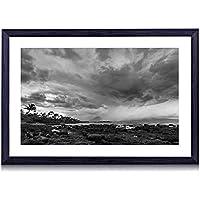 ハワイ、海岸、雲、嵐、ヤシの木、石、夕暮れ - 木製の黒色のフォトフレーム - 壁の絵 壁掛け ソファの背景絵画 壁アート写真の装飾画の壁画 - 白黒 海 - (60cmx40cm)