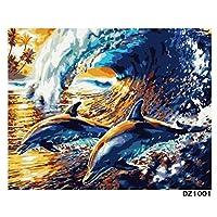 数字による波のイルカのアクリル着色リビングルーム16x20inch(40x50cm)の数字による非フレームモジュラー絵の絵画