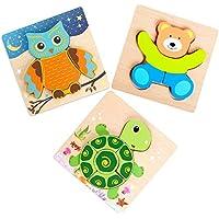 木製動物ジグソーパズル玩具 知育玩具 幼児 子供 男の子 女の子 誕生日ギフト 収納に便利な引き紐付きバッグ付き