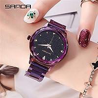 QTMIAO ファッション時計美しい時計, SANDA2018iロマンチックな星のダイヤル防水スチールベルトファッション腕時計の女性 (Color : 4)