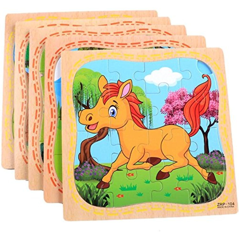 HuaQingPiJu-JP 創造的な木製動物の教育パズルアーリーラーニング番号の形状色動物玩具ファンタスティックギフト子供(馬)
