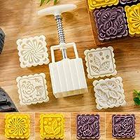 月餅金型ムーンケーキ正方形型Mould 75g Mooncake Mould with 4スタンプ