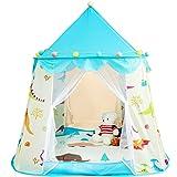 Flovingキッズテント 女の子 子供テント 折りたたみ プレーテント Kids Tent テントハウス 設置簡単 キャリーバッグ付き 知育玩具 子供部屋 室内 屋外 秘密基地 素敵なプレゼント (ブルー)