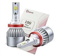 【Queen】 クイーン 新技術 2色切り替えLEDヘッドライト フォグランプ(ホワイト/イエロー) 70W 7000LM H8/H11対応 2800k~2900k 5500k~6000k