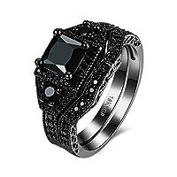 Rockyu ジュエリー ブランド 人気 レディース リング メンズ ギフト ハンドメイド 黒 ブラック ジルコン シンプル ファッション 指輪 13号