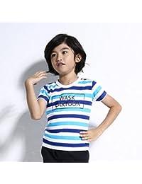 ワスク(WASK) 天竺ボックスプリントボーダーTシャツ(140cm~160cm)