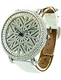 アンコキーヌ シンメトリー シルバーベゼル <文字盤:ホワイトシェル><ベルト:ホワイト>1141-0101 腕時計 グルグル時計 ぐるぐる時計