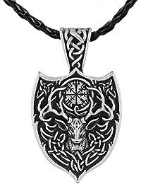 The Aegishjalmur Large Double Deer Sekiraバイキング北欧Talisman Amuletペンダントネックレス