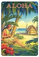 22cm x 30cmヴィンテージハワイアンティンサイン - アロハ - ハワイ - フーラダンサーとウクレレ - ビンテージなハワイの旅行のポスター によって作成された カーン・エリクソン