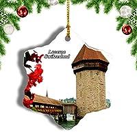 Weekinoスイススワン湖ルツェルンクリスマスオーナメントクリスマスツリーペンダントデコレーション旅行お土産コレクション陶器両面デザイン3インチ