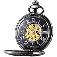 TREEWETO Mens Classic Mechanical Steampunk Pocket Watch Black Case Roman Numerals, Black