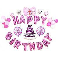 Riverbyland Mylar誕生日バルーンセットピンクガールズパーティー装飾