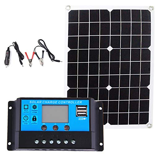 Shengshou ソーラー充電部品2点セット ソーラーパネルソーラー充電器20W と 20A 12V 24V自動作業PWM LCDデュアルUSB 5V出力ソーラーパネル充電器レギュレーター付き