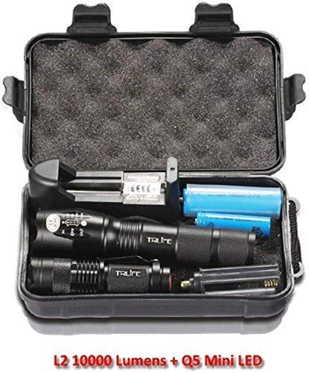 冷える棚ファンBZM-ZM 懐中電灯、LED懐中電灯トーチL2 / T6ズーム可能な戦術的な懐中電灯充電式ミニランプペンライト18650バッテリー2PCS(カラー:ブラック、サイズ:10000lm)