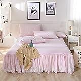 綿花世界 アンティーク風 超人気なレース付け綿質のおしゃれなピンク色ベッドスカート 枕カバー ピローケース 寝具3点セット 高質感 水洗えコットン 無印 セミダブル
