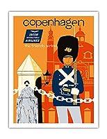 コペンハーゲン - アイルランド国際航空 - フレンドリーな航空会社 - ビンテージな航空会社のポスター によって作成された ディック・ニーガス・アンド・フィリップ・シャーランド c.1960s - アートポスター - 51cm x 66cm