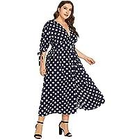 Milumia Plus Size Button Down Dress Polka Dot Vintage Retro Wrap V Neck Maxi Party Dress