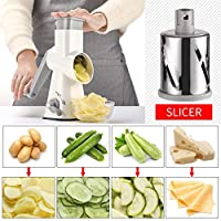 [Valuetools Manual Rotary Cheese Grater - Round Mandoline Slicer with Strong Suction Base, Vegetable Slicer Nuts Grinder Cheese Shredder with Clean Brush] (並行輸入品)