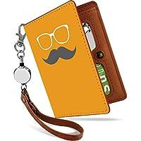 KEIO リール付きパスケース カバー 定期入れ ヒゲ メガネ 二つ折り 2枚 3枚 4枚 カードケース おもしろ 面白い パロディ ケース 髭 眼鏡 橙灰 定期いれ パスケース iptn髭眼鏡橙灰ps