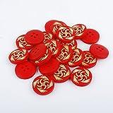 Dowonsol 20個 ブラウン 天然ポプラ木製ボタン 穴四つ 星のレーザー彫刻 丸いボタン 直径18mm 手芸 DIY 裁縫 用ボタン