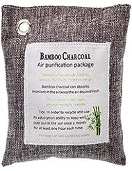 SUPVOX チャコール臭気吸収剤竹カーボン芳香剤消臭バッグカーホーム200g(グレー)
