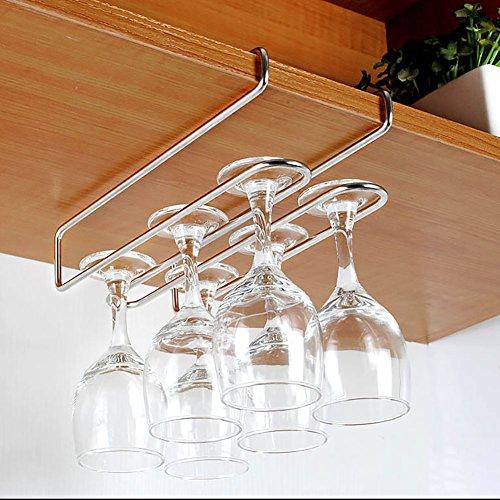 Inc T&B ワイングラスホルダー グラスハンガー ラック ステンレス製 吊り下げ 穴あけ不要 ネジ止め不要 2レーン ロングタイプ 3~4cmまで対応