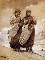 手書き-キャンバスの油絵 - 美術大学の先生直筆 - Fishergirls on Shore Tynemouth 現実主義 painter Winslow Homer 絵画 洋画 複製画 ウォールアートデコレーション -サイズ01