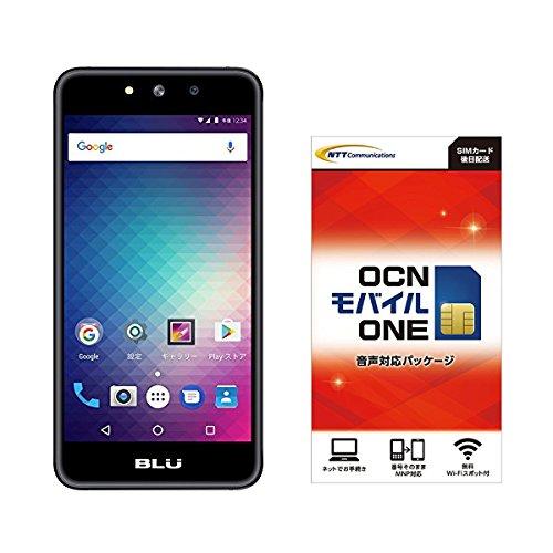 Amazon.co.jp 限定BLU(ブルー)GRAND M SIMフリースマートフォン ブラック 専用ケース付 OCN モバイル ONE 音声通話+LTEデータ通信SIMセット