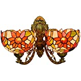 8-Inch Tiffany Style Sunflower Wall Sconce Lights Vintage Stained Glass 2 Arms Wall Lamp Upward Downward Wall Lights for Bedroom Living Room Hallway Balcony