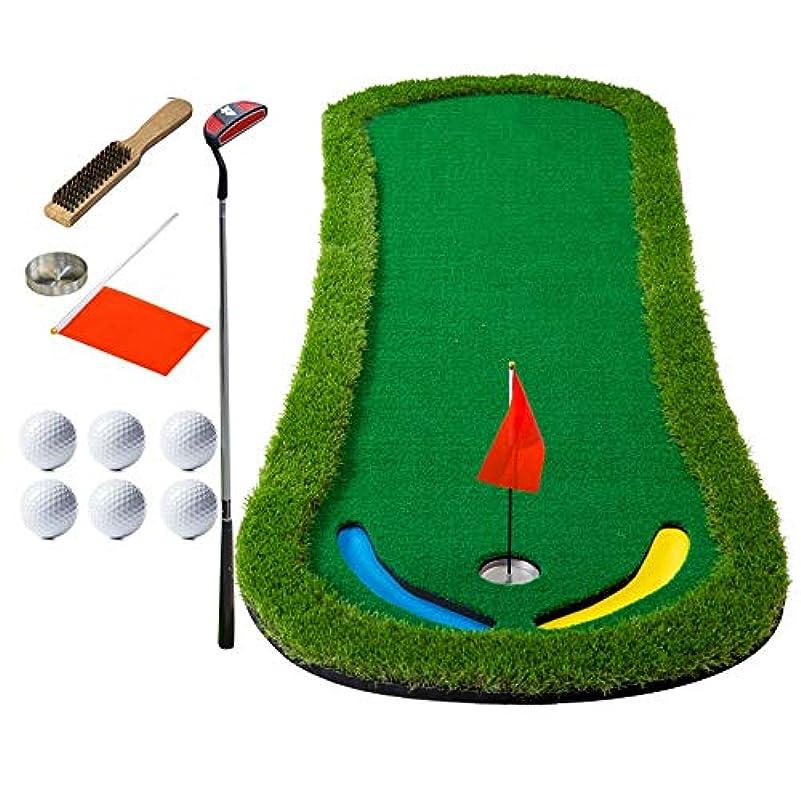 千然とした上下するあるゴルフパッティンググリーン グリーンマットポータブルゴルフコースミニトレーニングギアトレーナーセットを置くゴルフ 家の屋内屋外のため (色 : 1.3m, Size : Accessories+putter)