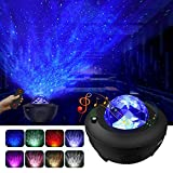 LBell Night Light Projector, 2 in 1 Ocean Wave Projector Star Projector w/LED Nebula Cloud for Baby Kids Bedroom/Game Rooms/Home Theatre/Night Light Ambiance with Bluetooth Music Speaker